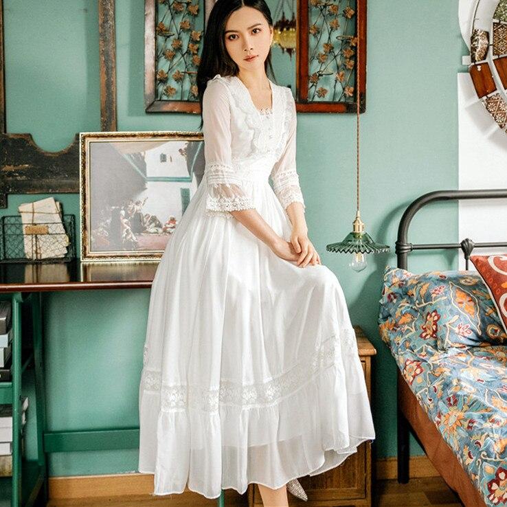 Summer New Palace Princess Lace Dress Retro Art Fashion Temperament Half Sleeve Mid-length Women Retro Dress Party Vestidos 1
