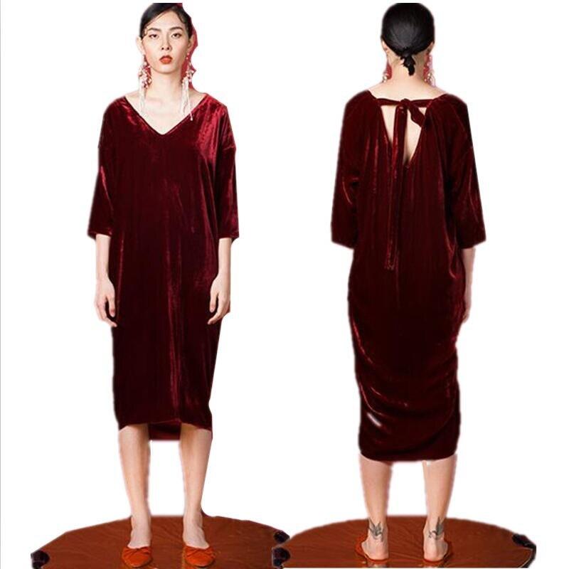 19 Women Autumn half sleeve long dress sexy deep V-neck Velvet straight dress plus size velour dress L-6XL 3