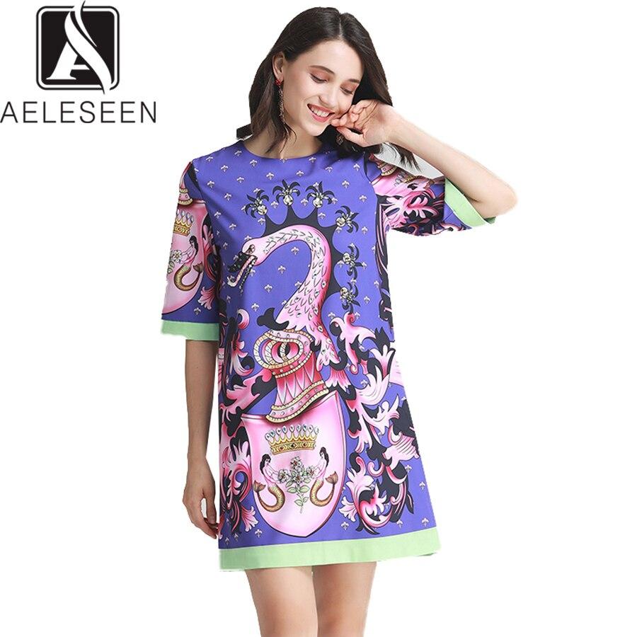 AELESEEN Women Beaded Dresses 19 Summer High Street Half Sleeve Coloful Animal Print Diamonds Straight Mini Loose Dress 2