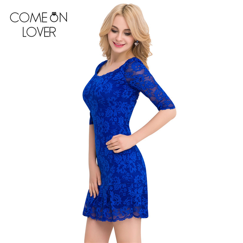 Comeonlover 18 Fashion Summer Dresses VE1046 Back See Through Women s Dresses Woman Half Sleeve Lace Mesh Dresses Floral robe 3