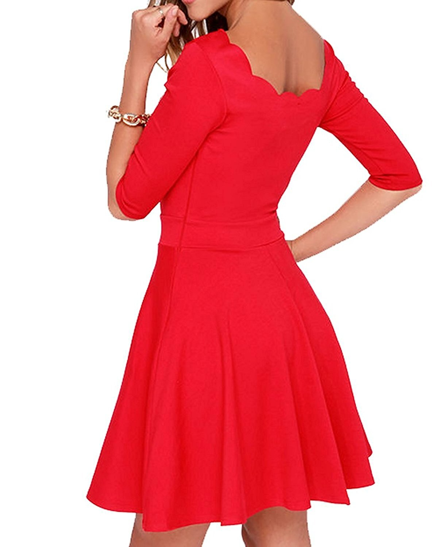 Custom-made Women's Slim Flared Tunic Sweetheart Wavy Neckline Dress Ladies Half Sleeve High Waist A-Line Dresses Vestidos 2
