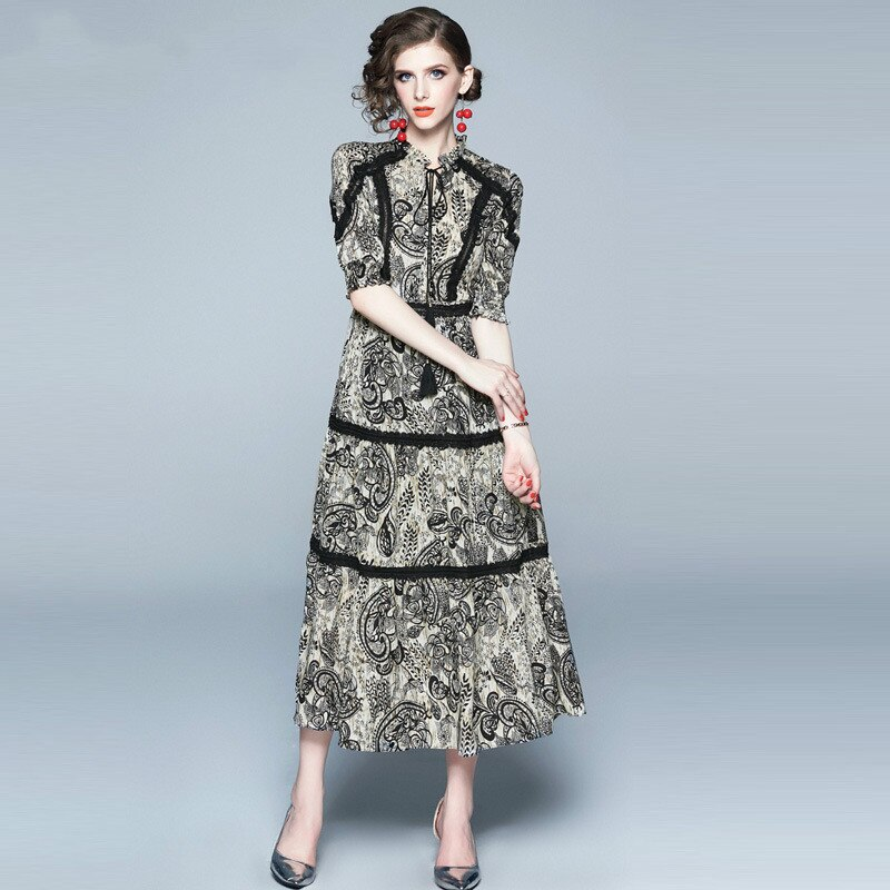 Vintage Print Lace Patchwork Chiffon Long Dress Women 19 Summer Lace-up O Neck Half Sleeve Ladies Dresses Casual Vestidos 1