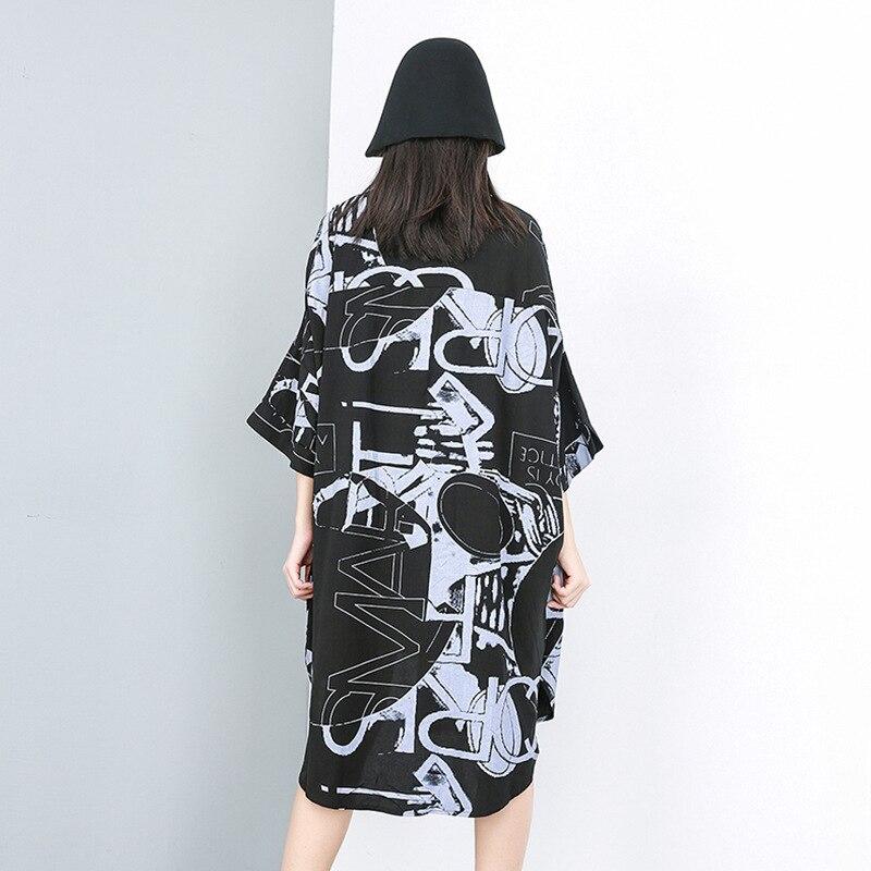 [XITAO] Casual Women Fashion 19 Summer Turn-down Collar Half Sleeve Loose Dress Female Irregular Button Mid-calf Dress ZQ1707 2