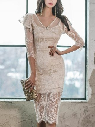 WAVSIYIER women half sleeve dress female korean sexy party club lace dresses high waist pencil dress midi runway elegant vestido