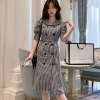 19 autumn Korean Double Breasted Plaid Dresses Women Gray Ruffles Bodycon OL Dress Fashion Half Sleeve dresses