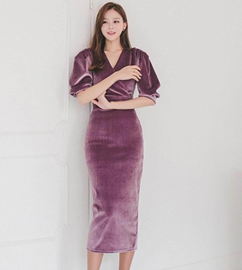 HAMALIEL High Quality Velvet Half Pull Sleeve Pencil Dress 19 Fashion Spring Women Sheath Bodycon OL Dress Slim Party Dress 3