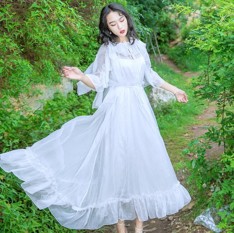 Women New Fashion Fairy White Dress Lace-up Collar Ruffles Half Sleeve Chiffon Long Dress Vestidos Mujer Robe Femme 19 3