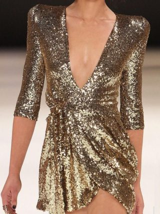 Women Summer V Neck Sexy Party Dress Half Sleeves Sequin Glitter Mini Dress Solid Short Gold Club Dresses Vestidos