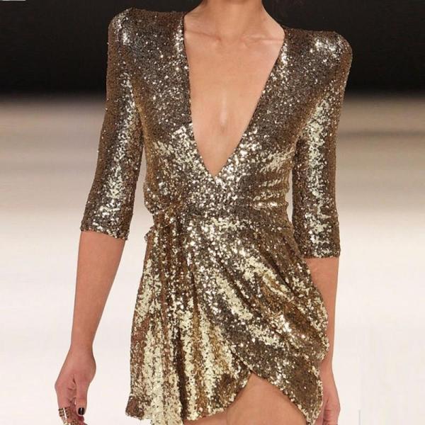 Women Summer V Neck Sexy Party Dress Half Sleeves Sequin Glitter Mini Dress Solid Short Gold Club Dresses Vestidos