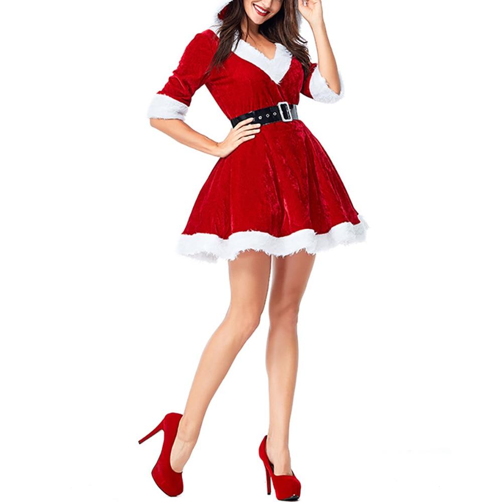 Women Christmas Red V-Neck Half Sleeve Santa Claus Dresses Sexy Fancy Plush Hoodie Ball Grow Female Mini Dress Cosplay Costume 1
