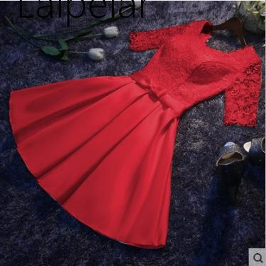 Laipelar New  Elegant Satin Party Dresses Half Sleeves Formal Night Party Dress Burgundy Robe For Formal Wear