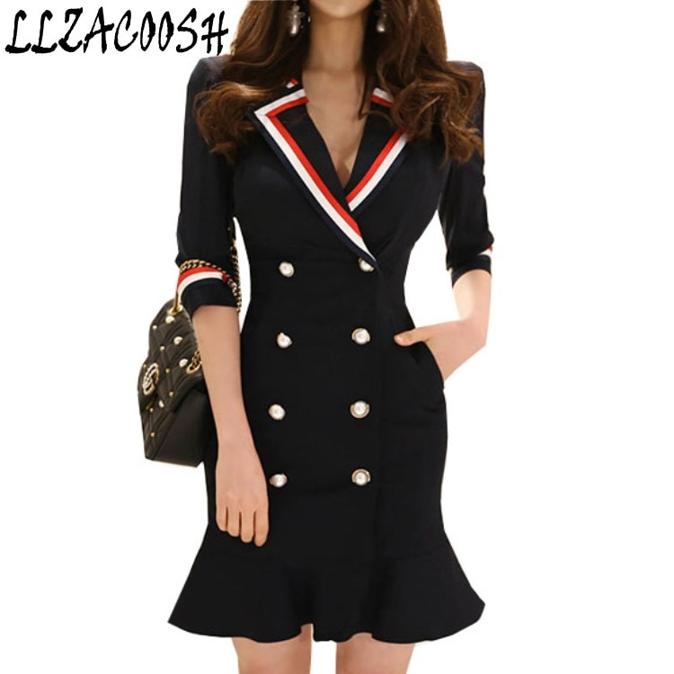 High Quality 18 New Spring Women's Notched collar Half Sleeve Double-breasted Pleated Temperament Dress Long Suit Jacket 1