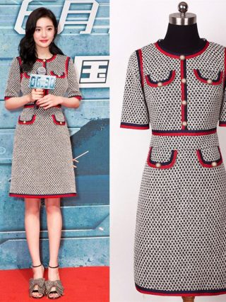 Fashion Designer Women Knitted Dress O-neck Button Half / Wrist Sleeve Runway Sweater Party Dress