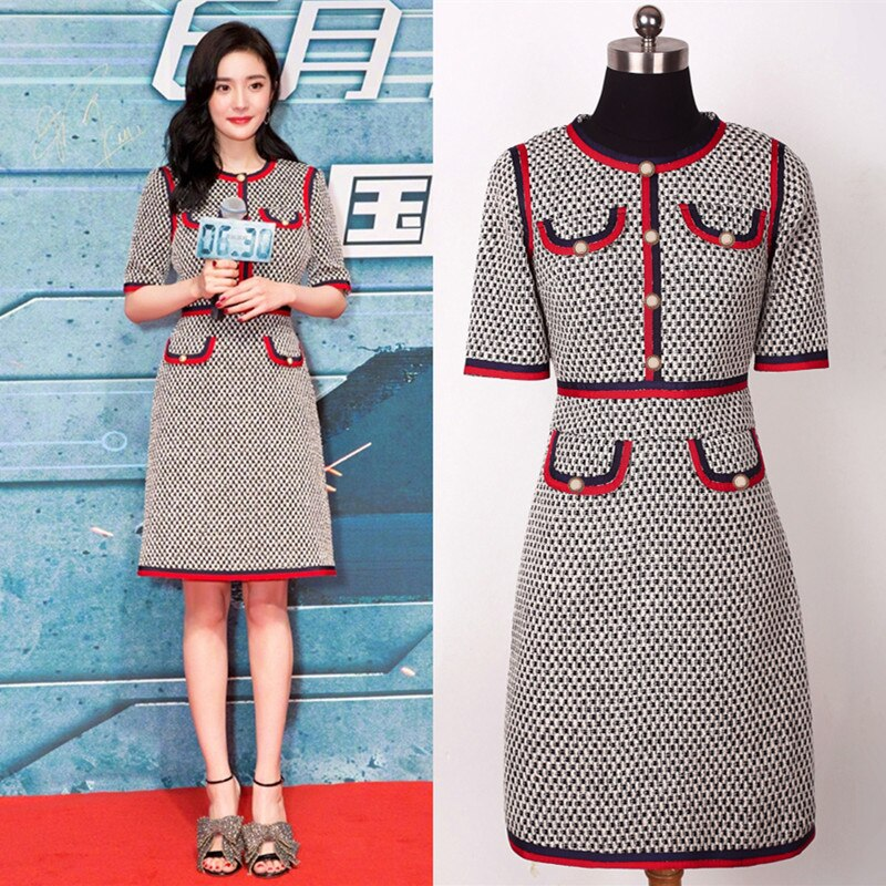 Fashion Designer Women Knitted Dress O-neck Button Half / Wrist Sleeve Runway Sweater Party Dress