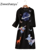 Ziwwshaoyu Women's Autumn Winter Vintage Black Dress Fashion Cartoon Sequin Embroidery Half Sleeve Dresses