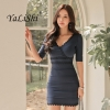 18 New Summer Women Dress Blue V-Neck Half Sleeve Bandage Bodycon Dress Socialite Sexy Party Package Hip Dress Vestidos Mujer