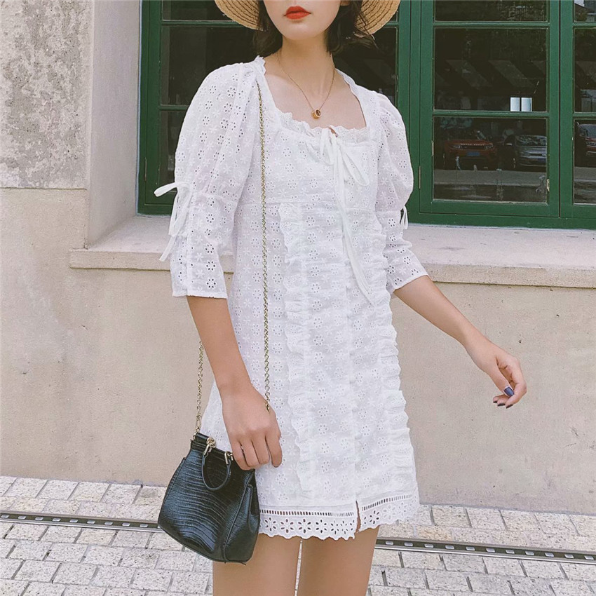 Women sweet embroidery hollow out mini dress white pleated half sleeve dresses female sweet chic A line vestido 3