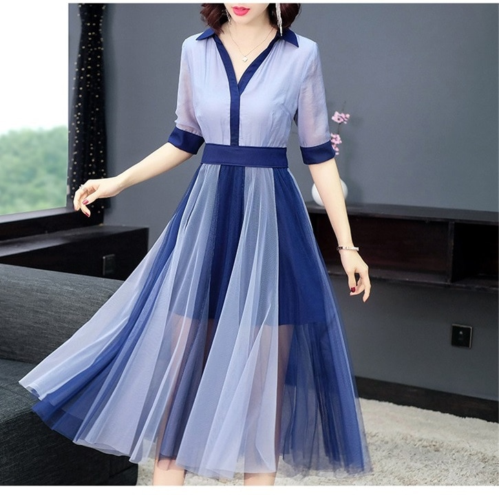 Women color block mesh dress patwork elegant half sleeve shirt dresses new 19 spring summer blue pink 1