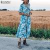 ZANZEA Women Floral print Midi Dress Elegant Lady Half Sleeve Dresses Bohemian Vestidos Party Evening Summer Sundress Robe Femme