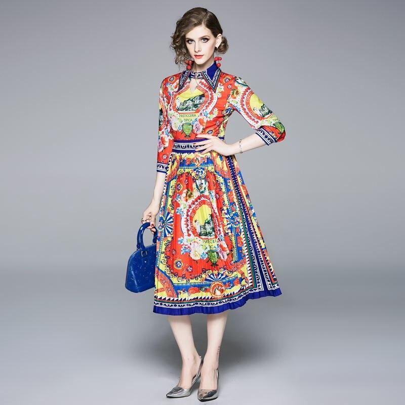 half regular sleeve pleated bohemian turn-down collar summer vintage elegant casual party dress 2