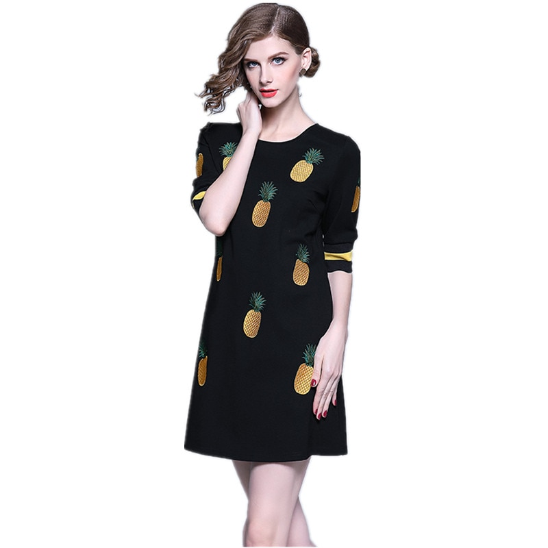 HAMALIEL Spring Women Embroidery Pineapple A Line Dress 19 Runway Black Half Sleeve Slim Dress Casual O Neck Dress Vestidos 1