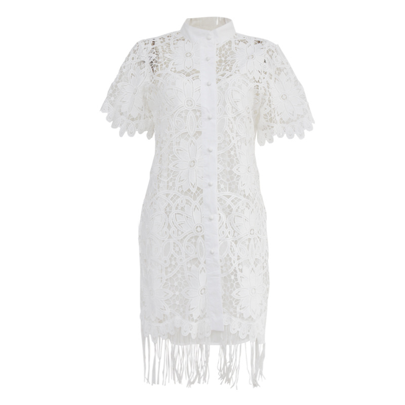 KAMIYING Hollow Out Lace embroidery Tassel Women's Dress Stand Collar Half Sleeve High Waist Mini Dresses Female  Fashion 2