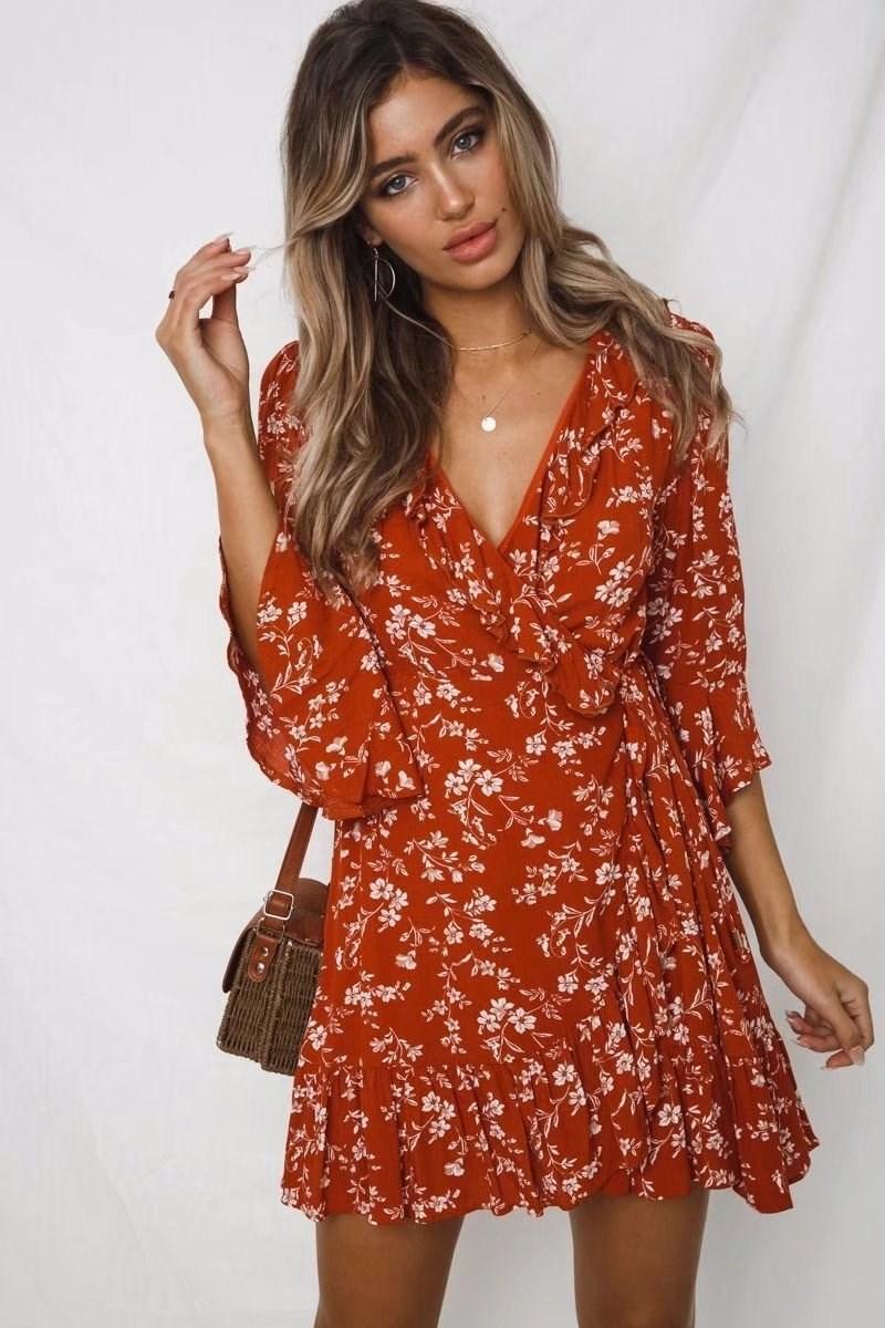19 Summer Women Floral Print Boho Dress Casual Deep V Neck Ruffles Beach Dress Flare Half Sleeve Short Dress 3