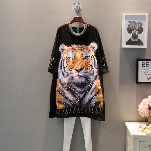 19 spring new Korean fashion wild tiger patch loose large size trend wild short-sleeved dress female