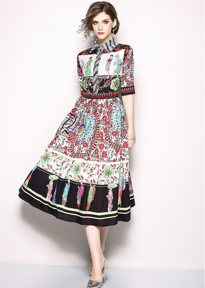 HAMALIEL Vestidos Summer Dress 18 Runway Turn Down Collar Print Flower Character Chiffon Vintage Half Sleeve Ladies Midi Dress 3