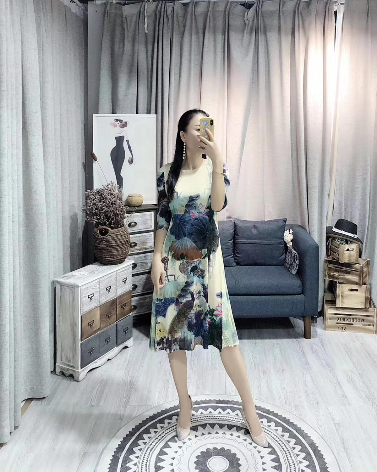 HOT SELLING Miyake new fashion fold Chinese style ink painting half sleeve o-neck dress IN STOCK 3