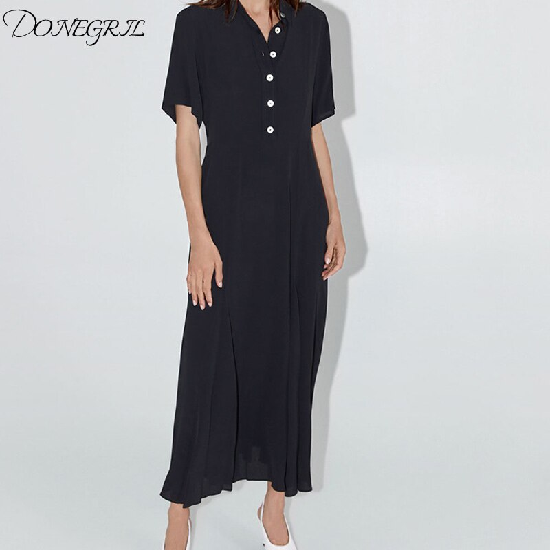 19 Dress Womens Summer Fashion Concise Casual Turn-down collar half Sleeve dress single breasted A Line black long dress 1