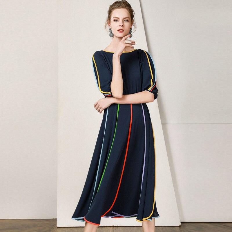 19 New Women Midi Dress O-Neck Half Sleeve A-line Dress Elegant Chiffon Dress Vestidos Femme Vintage Dress Fashion Streetwear 1
