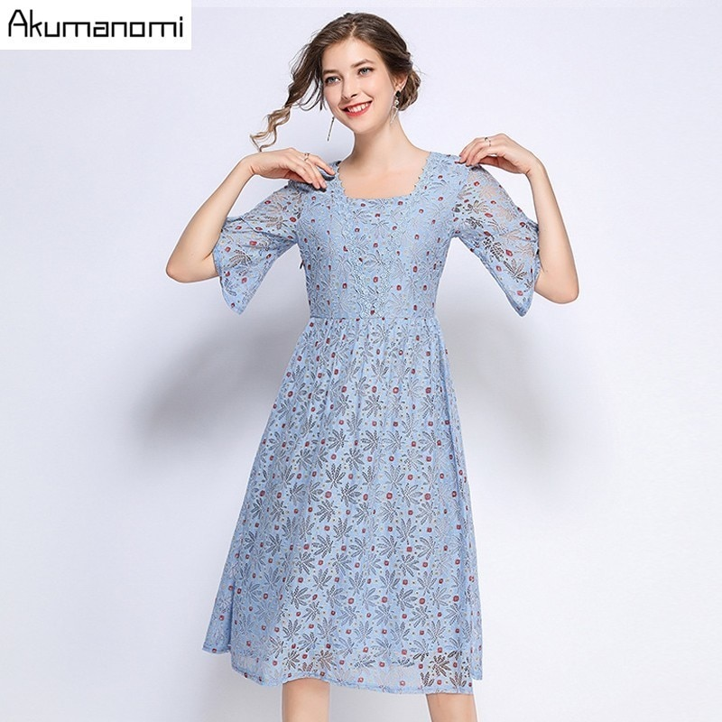 Summer Dress Women 19 Hot Plus Size 5xl Blue Square Collar Half Sleeve A-line Dot Lace Party Dress Vestidos Robe Longue Femme 1