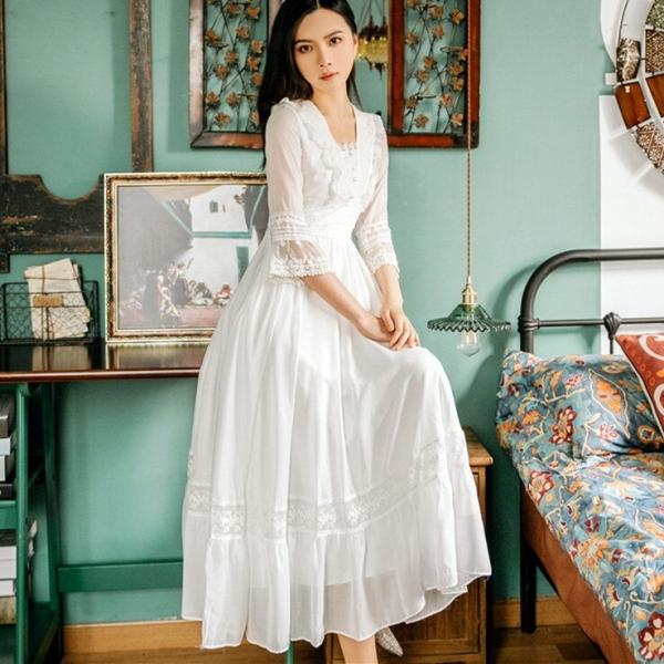 Summer New Palace Princess Lace Dress Retro Art Fashion Temperament Half Sleeve Mid-length Women Retro Dress Party Vestidos
