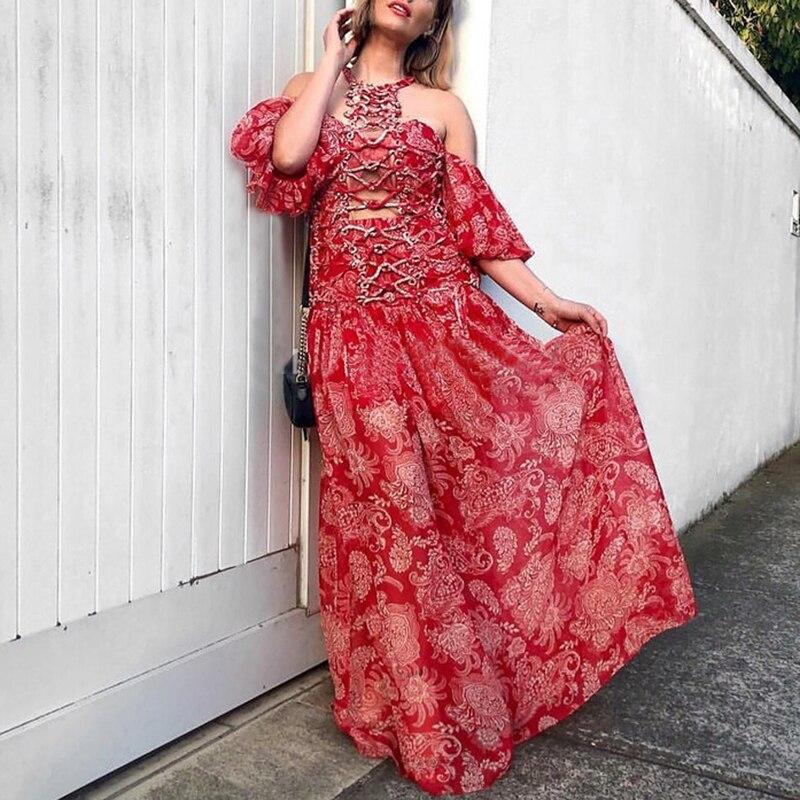 SISPELL Summer Hollow Out Print Women's Dress Halter Off Shoulder Half Sleeve A Line Dresses Female 19 Fashion New Vintage 3