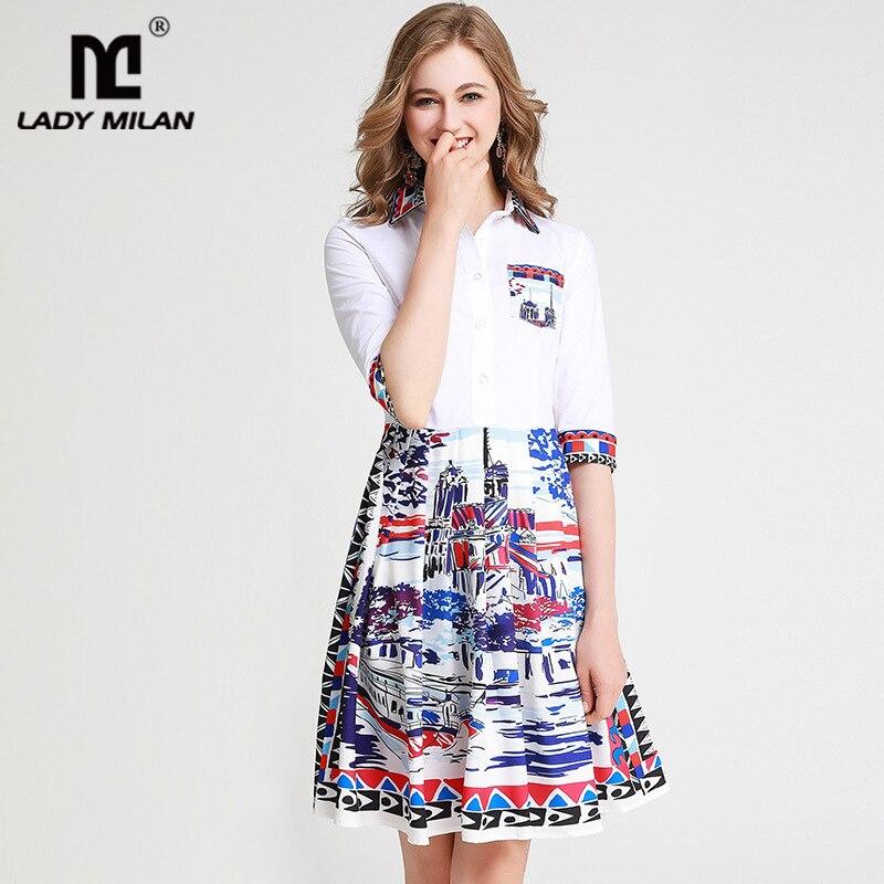 Women's Runway Dresses Turn Down Collar Half Sleeves Printed Fashion High Street Casual Dresses 1