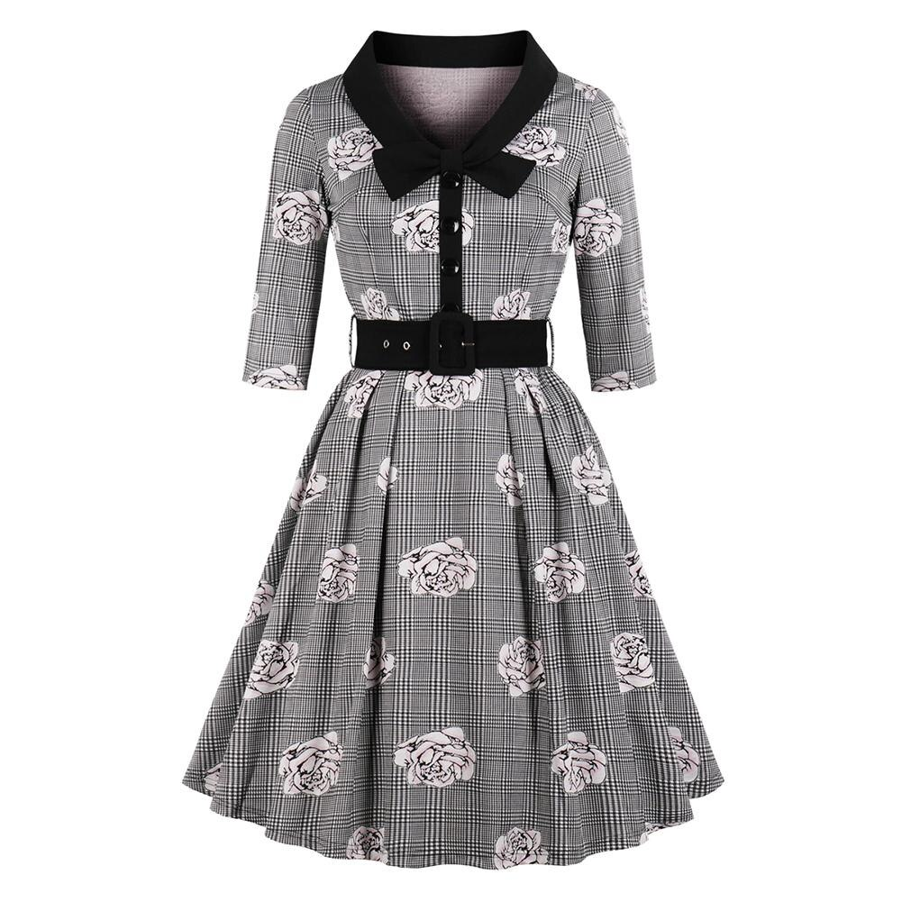 New Autumn Women's Vintage Flare Dress Bow Tie Belt Slim Plaid Rose Print Half Sleeves Dress Plus Size Large Swing Elegant Dress 1