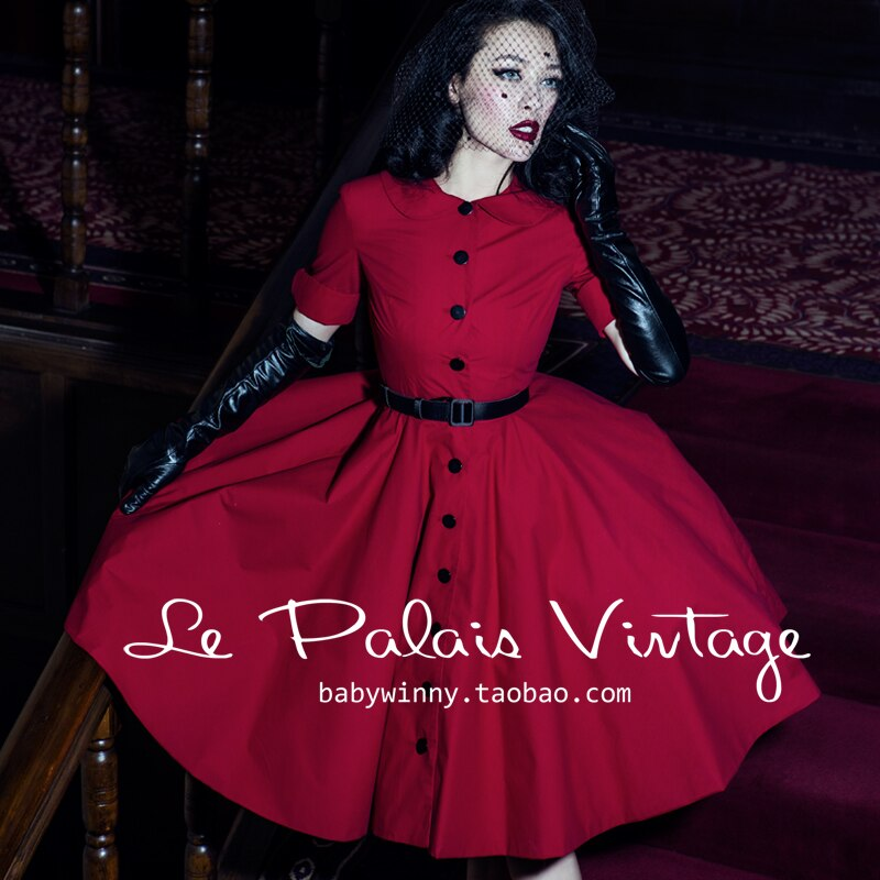 FREE SHIPPING Le palais vintage elegant red classic peter pan collar half sleeve one-piece dress