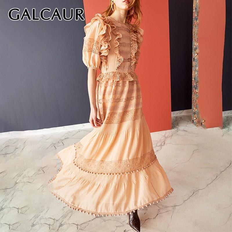 GALCAUR Summer Hair balls Lace Patchwork Dress For Women O Neck Half Sleeve High Waist Midi Dresses Female Fashion 19 Elegant 1