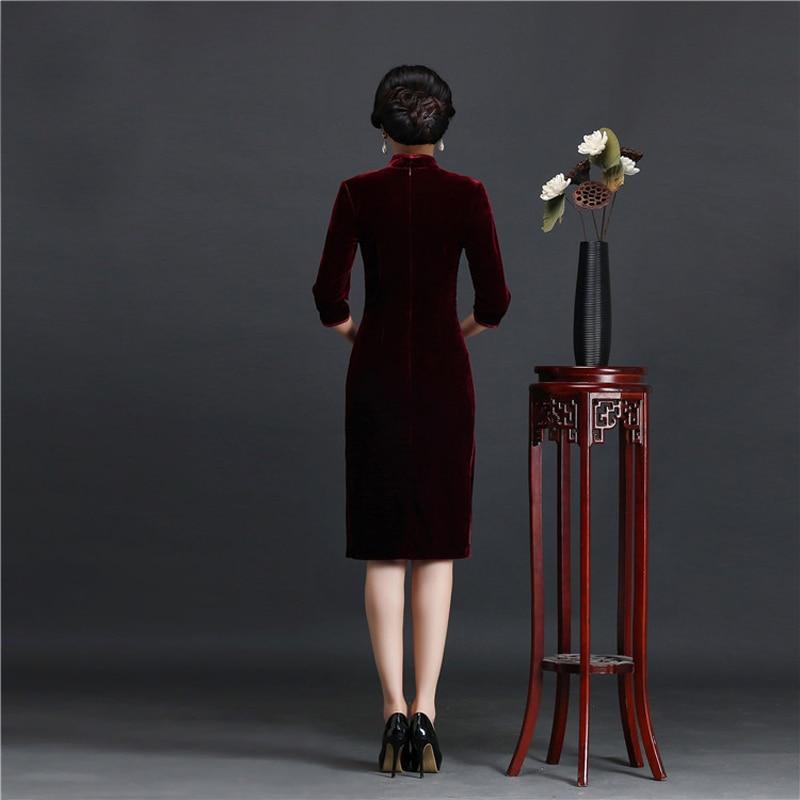 Brand New Designer Women's Velour Qipao Plus Size 4XL Handmade Sequined Beads Chinese Dress Half Sleeve Short Cheongsam Dress 2