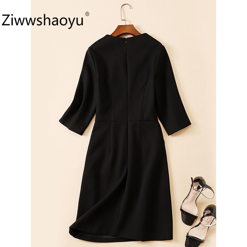 Ziwwshaoyu Women's Autumn Winter Vintage Black Dress Fashion Cartoon Sequin Embroidery Half Sleeve Dresses 3