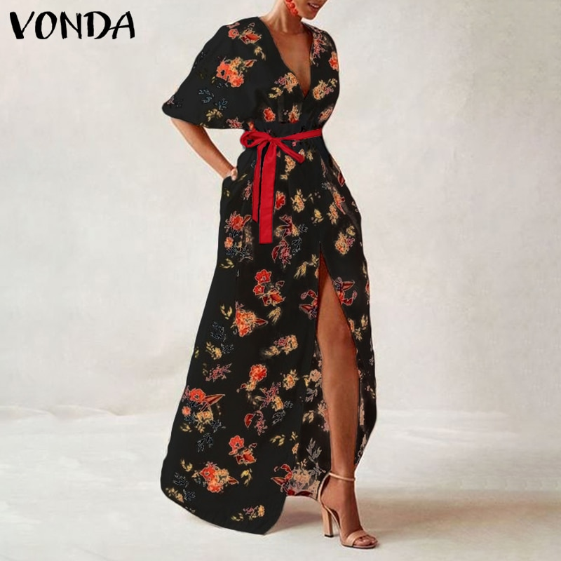 VONDA Women Vintage Printed Maxi Long Party Dress Sexy V Neck Short Sleeve Casual Loose Summer Beach Dresses Plus Size Vestidos 1