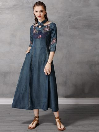 Autumn Denim Dress Women Half Sleeve Floral Embroidery Vintage Jeans Dresses Ladies Stand Collar A Line Long Retro Denim Dresses