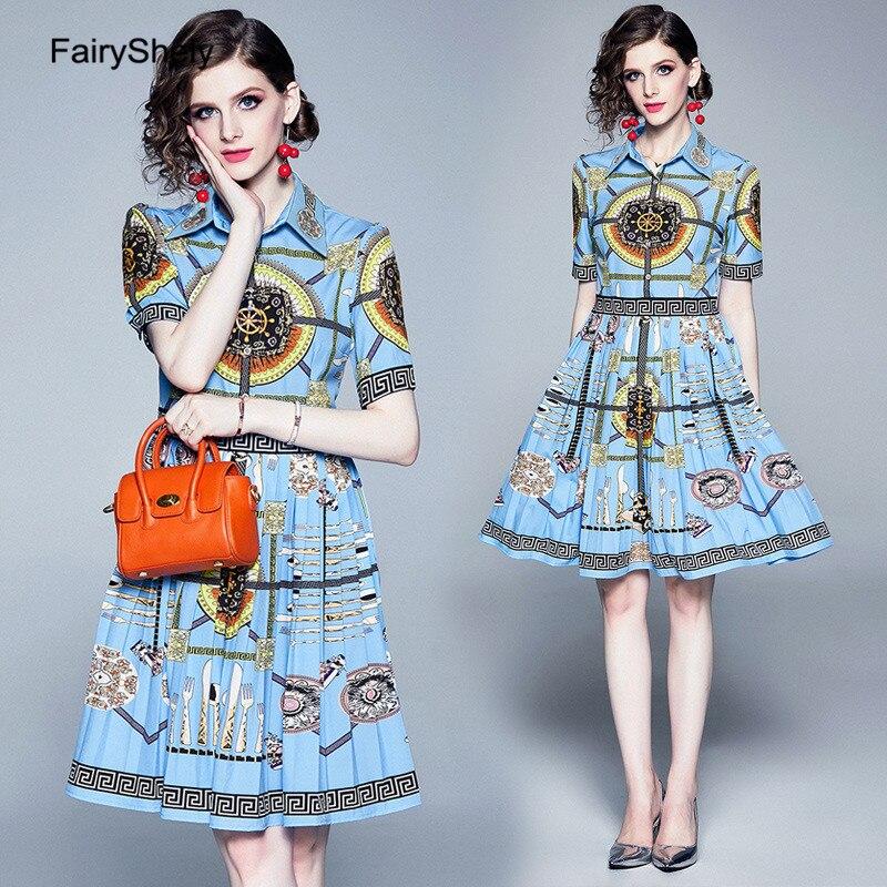 FairyShley 19 Autumn Vintage Half Sleeve Blue Print Shirt Dress Women Elegant Turn Down Collar Celebrity Evening Party Dress 2