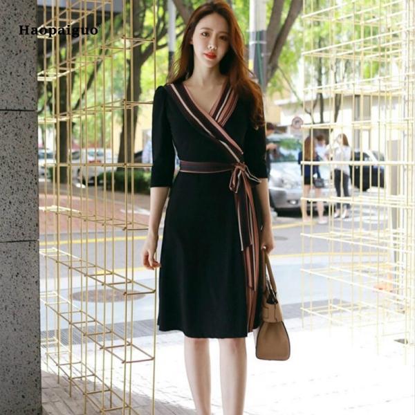 Plus Size A-line Dress Summer Women Black Striped Half Sleeve V-neck Knee-length Casual Office Lady Dress Vintage Korean Dresses