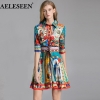 AELESEEN Vintage Dress Summer 19 Half Sleeve Flower Lapel Sashes Party Printed Dress Ethinic Bandage Slim Elegant Women Dress