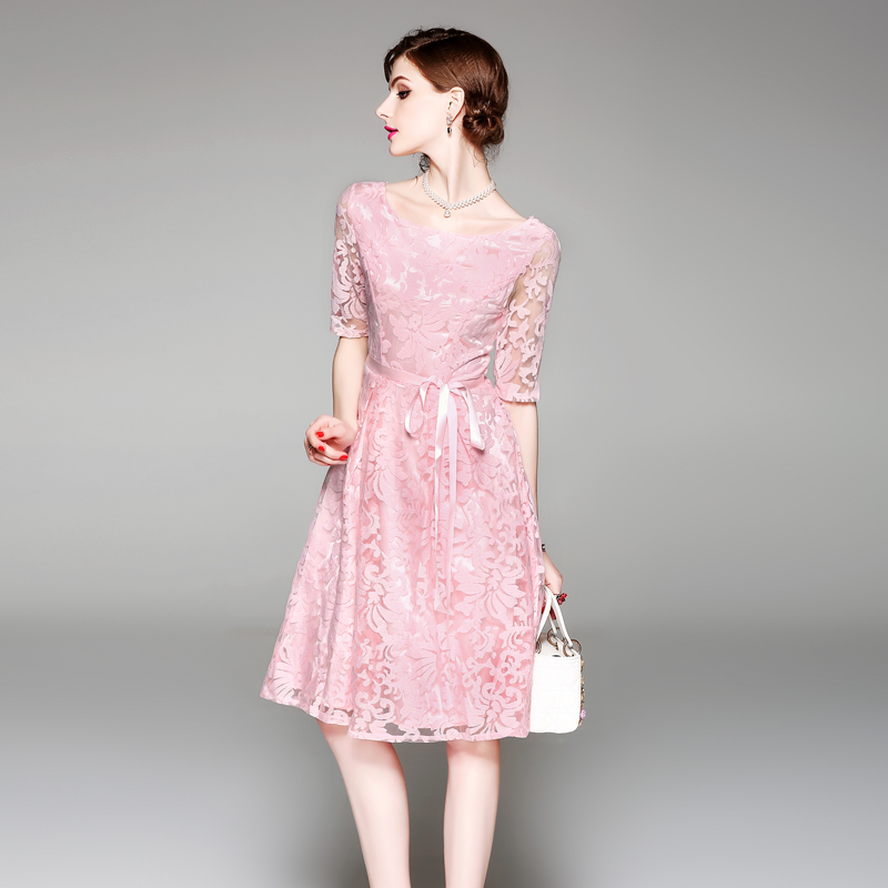 HAMALIEL Women Pink Party Dress 18 Summer Mesh Embroidery Hollow Out Half Sleeve Female Vianteg Slim Tie Bow Dress Vestidos