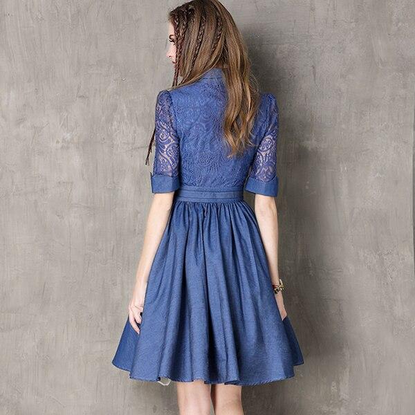 Women Hollow Out Half Sleeve Denim Dress Turn-Down Collar Blue Casual Work Dresses Short Jeans Dress Blue Vestido with Belt 2