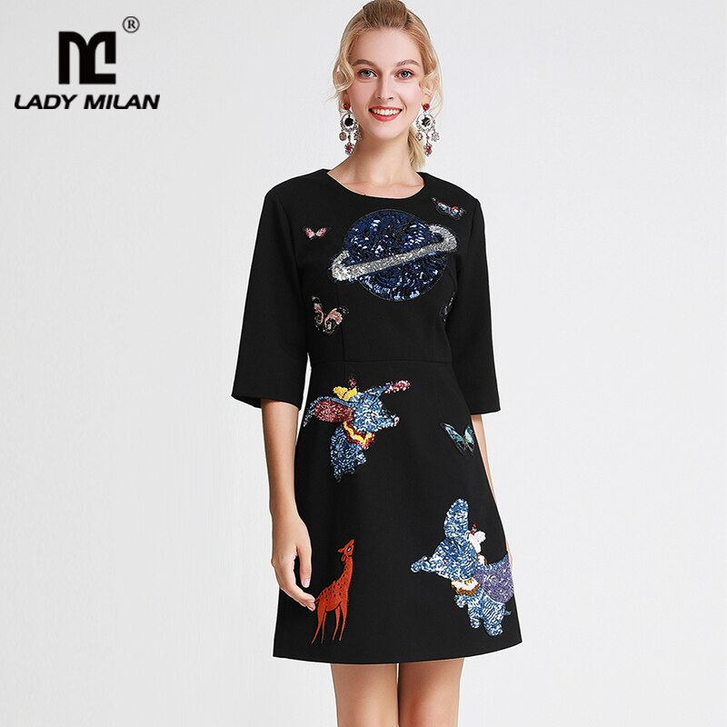 Lady Milan Women's Runway Dresses O Neck Half Sleeves Embroidery Cartoons Sequined Fashion Casual Autumn Short Dresses 1