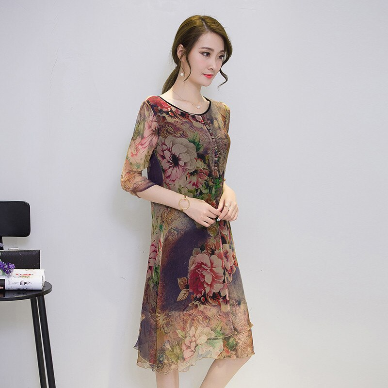 19 Half Sleeve Vestido Vintage Dress Plus size 4XL Medium Long Floral Silk Dress Women Clothing Thin Summer Dresses FYY342 2